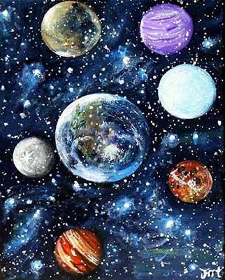 Galaxis világító élményfestés